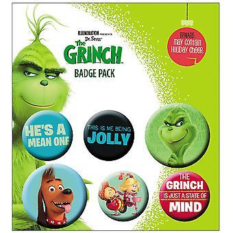 The Grinch 2 Button Set  6-teilig, bedruckt, aus 100 % Blech, Blisterverpackung.