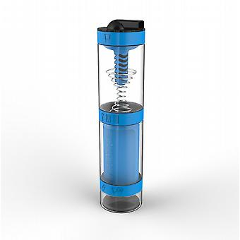 Intelishake Cyclone Blue - Shaker Bottle Multi-Compartment Protein/Workout/Juice with Water Carbon Filter for Sports Exercise & Gym