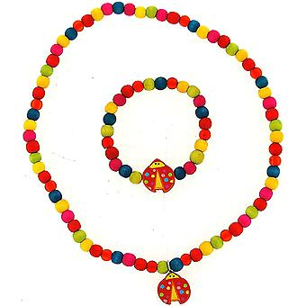 TOC Girls Multicolour Wooden Bead Ladybird Necklace & Bracelet Set