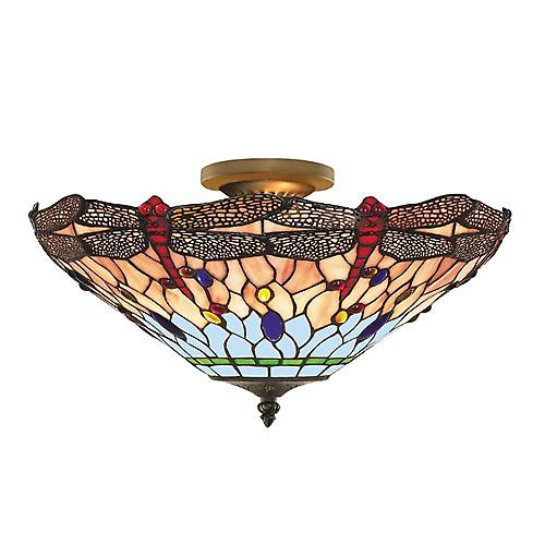 Searchlight 1289-16 Tiffany Traditional Tiffany Semi Flush Ceiling Light