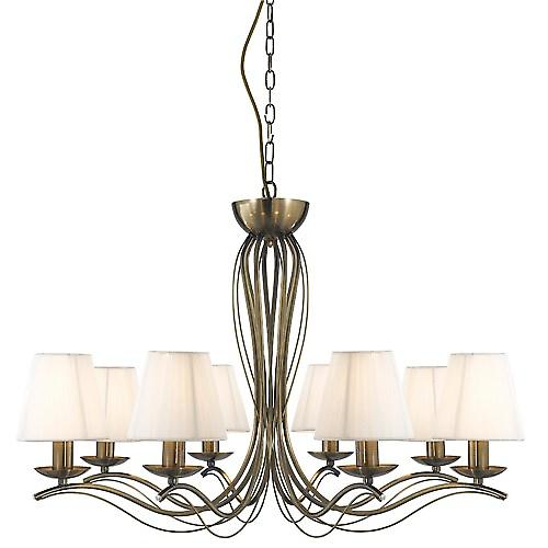 Searchlight 9828-8AB Andretti 8 Arm Antique Brass Fitting Cream String Shades