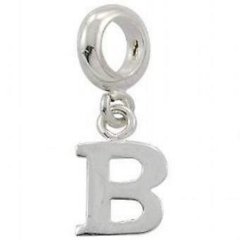 Toc Beadz Sterling Silver Dangle Initial B 2mm Slide-on Bead