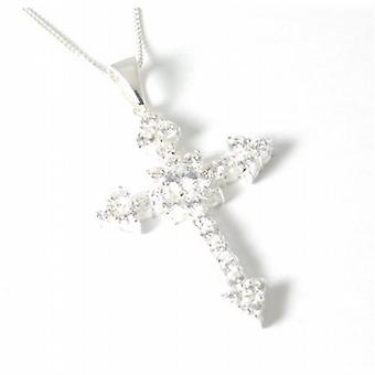 Toc Sterling Silver Cz Cross Pendant on 18 Inch Chain