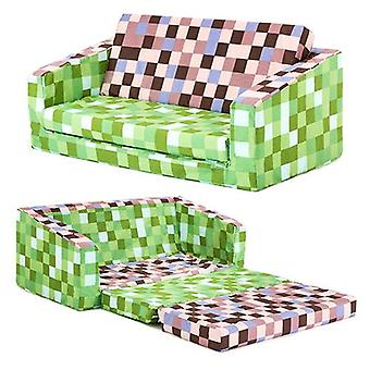 Children's Pixels Green Brown Print 'Lily' Fold Out Foam Sofa Bed