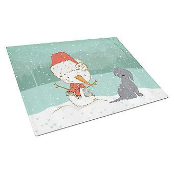 Black Maltese Snowman Christmas Glass Cutting Board Large