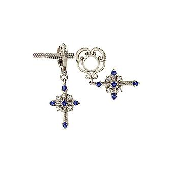 Storywheels Silver & Sapphire Cross Dangle Charm S027S