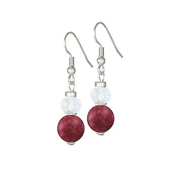 Eternal Collection Rhapsody Cranberry Jade And Crystal Drop Pierced Earrings