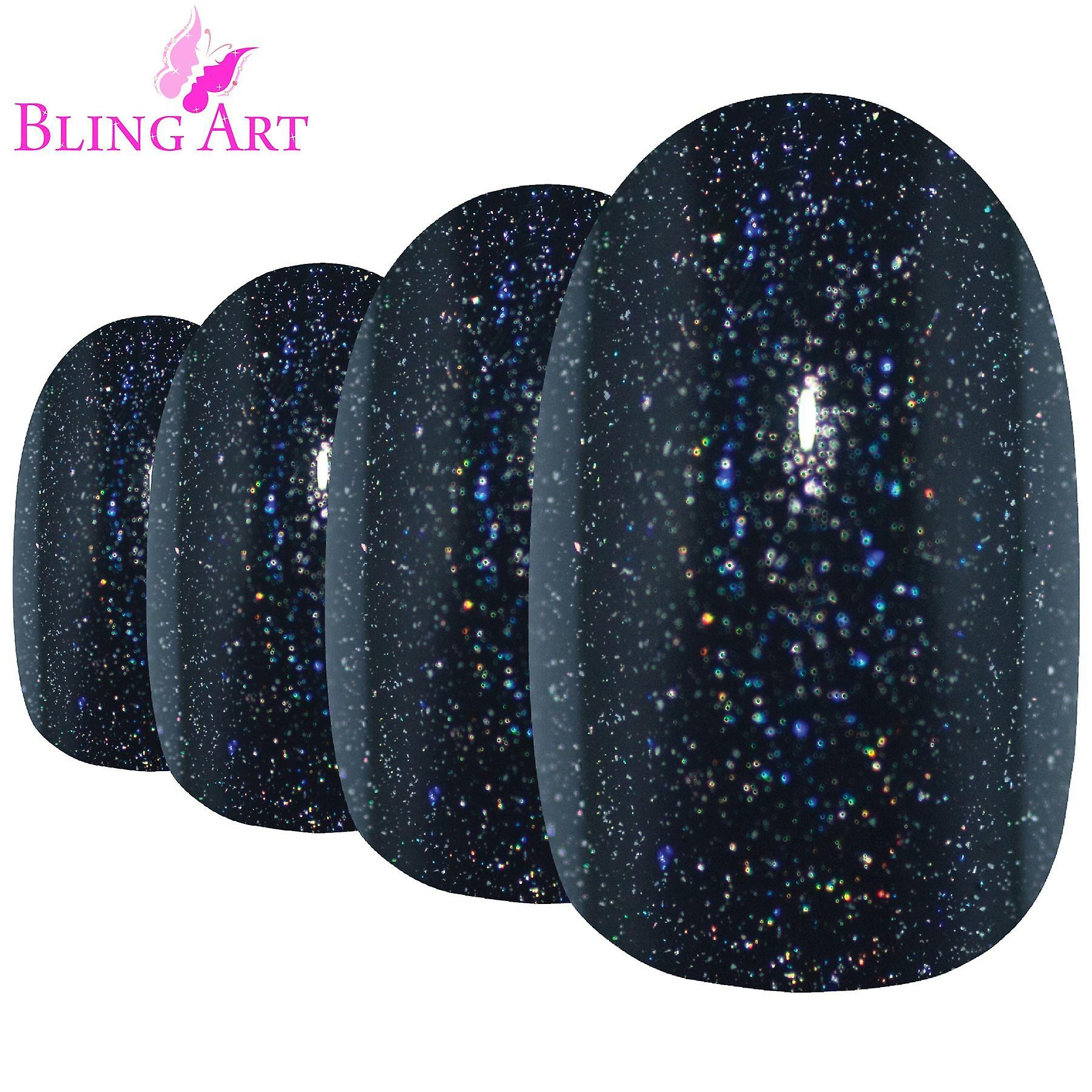 False nails by bling art black gel oval medium fake acrylic 24 tips with glue