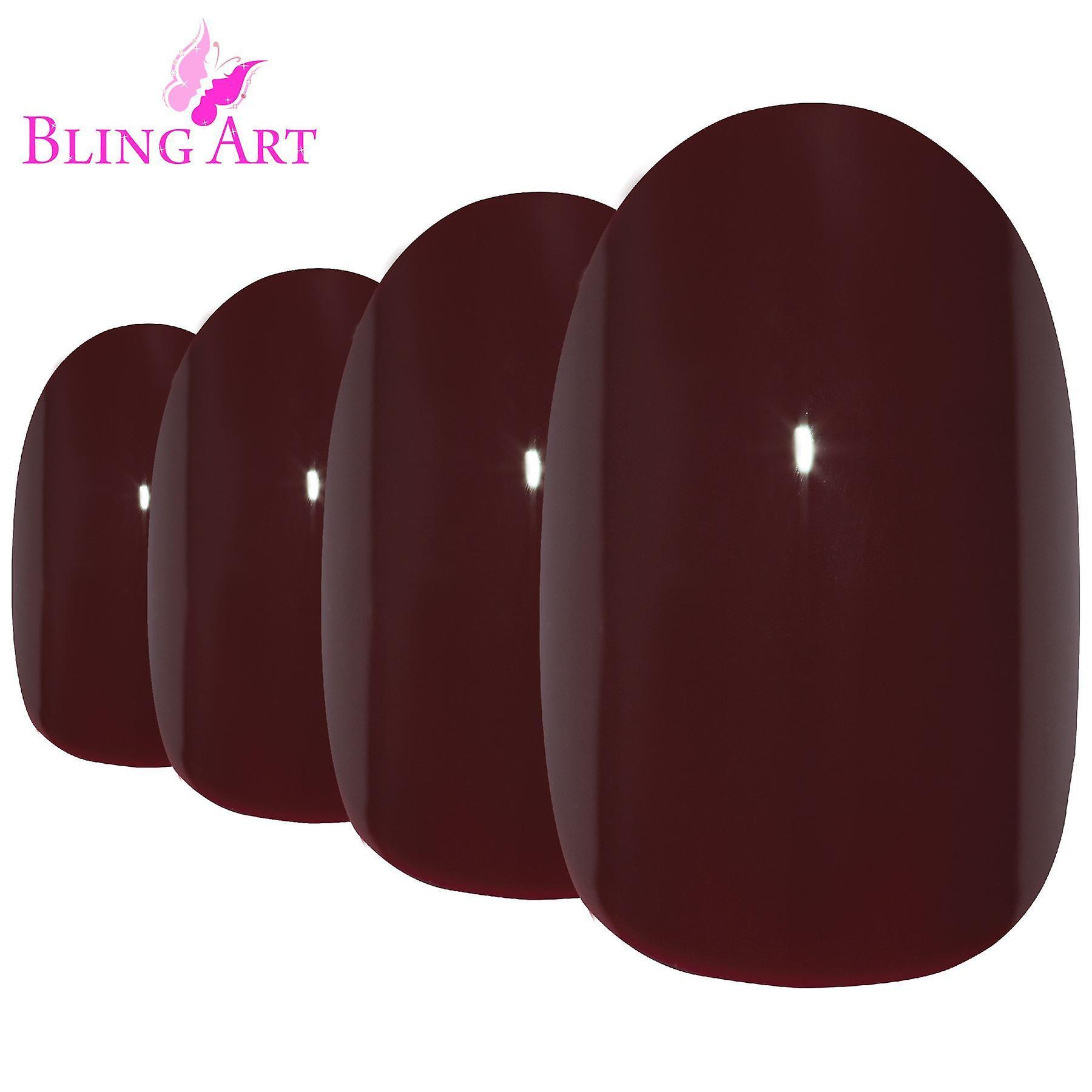False nails by bling art red brown polished oval medium fake acrylic nail tips