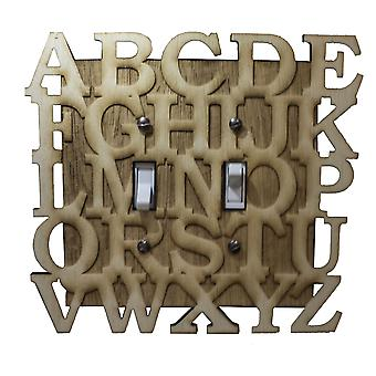 Abc double switch plate - raw wood - 6.6