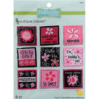 Babyville Boutique Labels 9 Pkg Pink Floral 350L 98