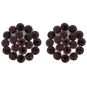 Clip On örhängen Store Amethyst Purple Crystal runda blomma klippet på örhängen