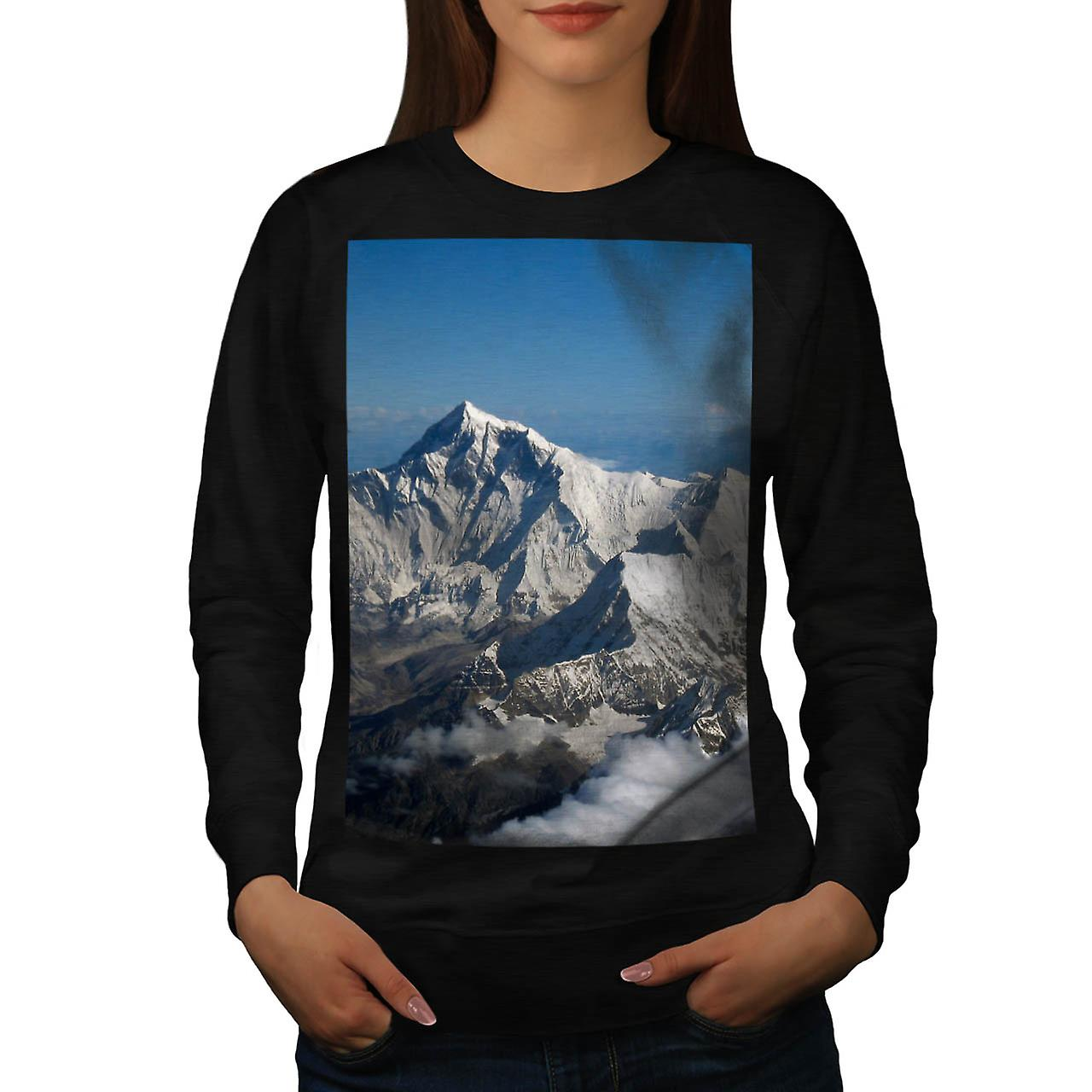 Rocky Mountain Range Snow Rock Women Black Sweatshirt | Wellcoda