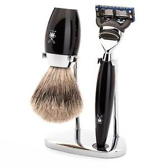 Muhle Kosmo Black Fusion Razor and Fine Badger Brush Shaving Set