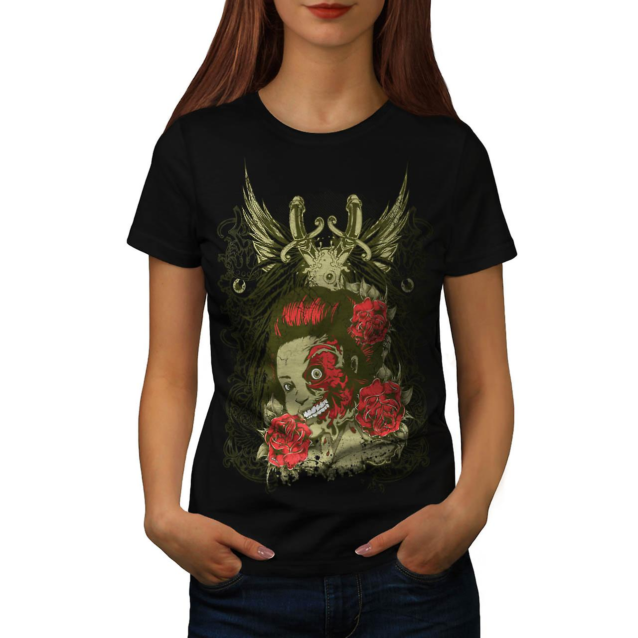 Half Face Monster Gal Head Flesh Women Black T-shirt | Wellcoda