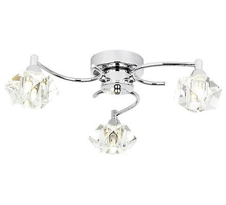 Endon ARIETTA-3FCH 3 Light Crystal Flush Ceiling Light In Chrome