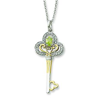 Sterling Silver and Gold-plated Aug. CZ Key 18inch Necklace