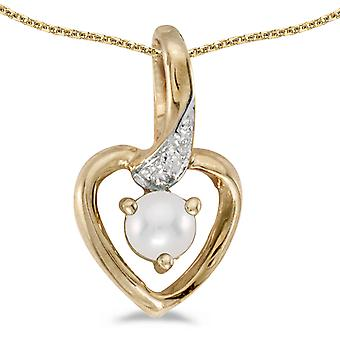 10k Yellow Gold Freshwater Cultured Pearl And Diamond Heart Pendant w/ 18