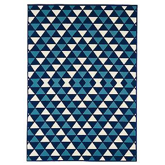 Marineblå kystnære trekanter soveværelse tæppe - Floorit
