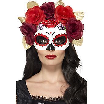 Jour de la mort Rosen fleurs masque yeux que demi-masque Mexique Halloween