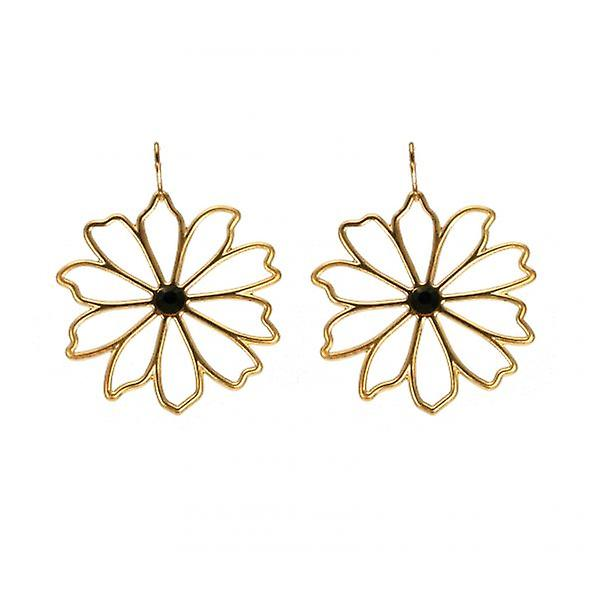 W.A.T Gold Style Open Flower Earrings