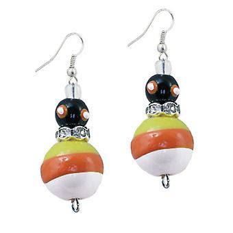 Trick R Treat Candy Corn Halloween Rhinestone Glass Beaded Kate Macy Earrings