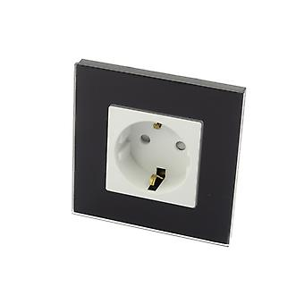 I LumoS Luxury Black Glass Frame Schuko 16A European EU German Single Socket