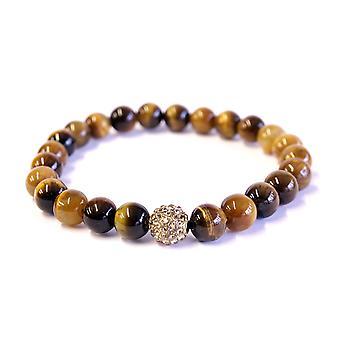 gule tiger øje & krystal armbånd 8mm perler