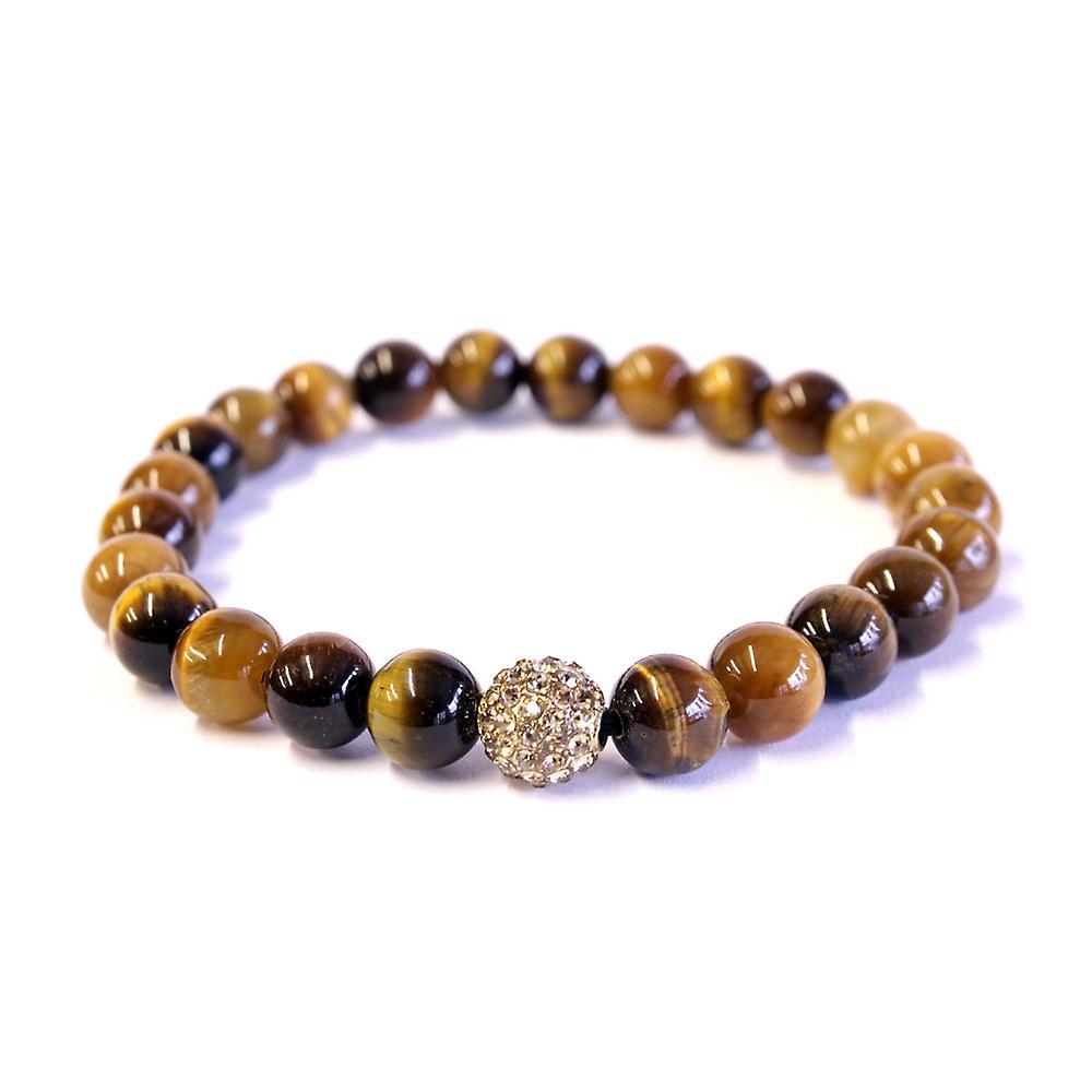 gule tiger øye & krystall armbånd 8mm-perler