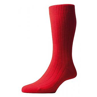 Pantherella Waddington Rib Luxury Cashmere Socks - Red