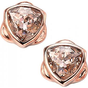 Elements Silver Rose Gold Plated Shield Earrings - Rose Gold