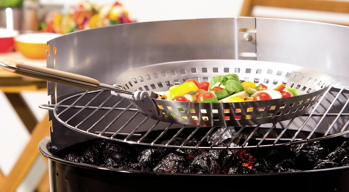Grill Pan Vegetable Basket Stainless Steel Round Ø Approx 31 Cm With Folding Handle