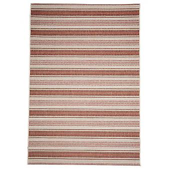 In - and outdoor carpet balcony / living room Riga Strip red and beige 160 x 230 cm