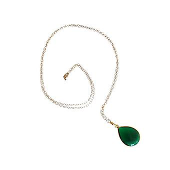 Tourmaline chain necklace for ladies gold plated green tourmaline necklace