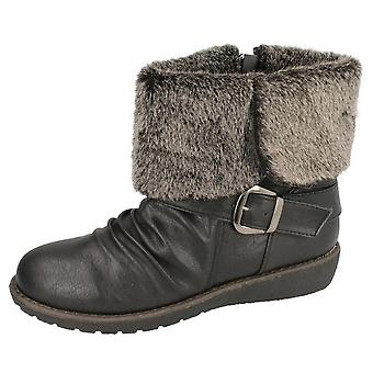 Spot On Womens/Ladies Zip Up Faux Fur Ankle Boots
