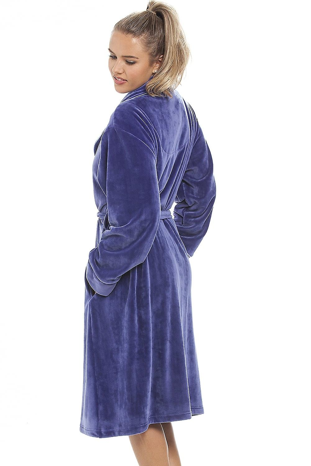 Camille Luxurious Heavy Weight Soft Purple Velour Dressing Gown | Fruugo