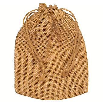 10 Natural Hessian Drawstring Pouch Gift Bags - 12x15cm   Gift Wrap Supplies