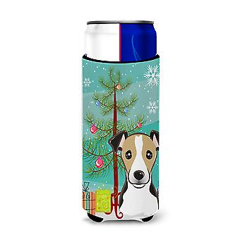 Christmas Tree and Jack Russell Terrier Ultra Beverage Insulators for slim cans
