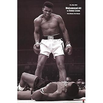 Muhammad Ali - 1965 1ste runde Knockout mot Sonny Liston plakat plakatutskrift