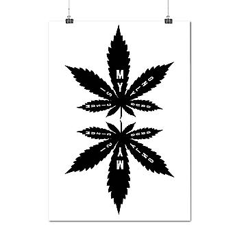 Matte or Glossy Poster with Music 420 Weed Leaf Rasta | Wellcoda | *y705