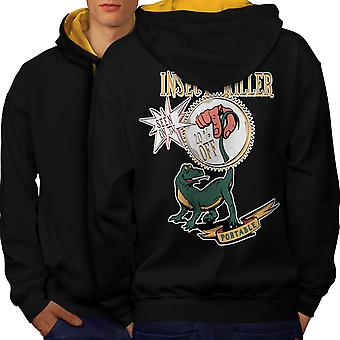 Repellent Tool  Joke Men Black (Gold Hood)Contrast Hoodie Back | Wellcoda