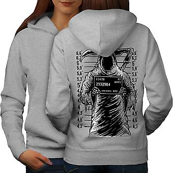 Grim Reaper Jail Horror Women GreyHoodie Back | Wellcoda