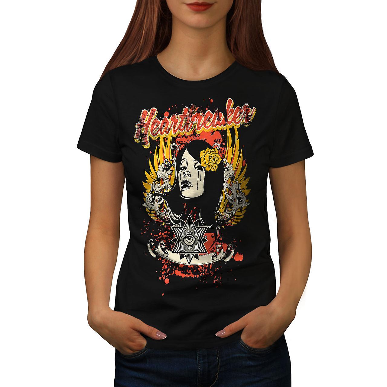 Heartbreaker Rose Fashion Women Black T-shirt | Wellcoda