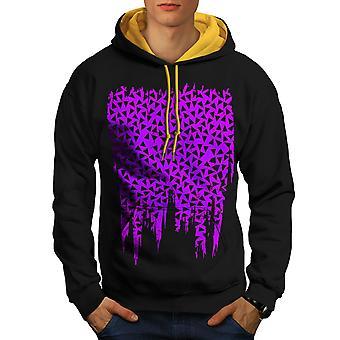 Triangle Pattern Fashion Men Black (Gold Hood)Contrast Hoodie | Wellcoda