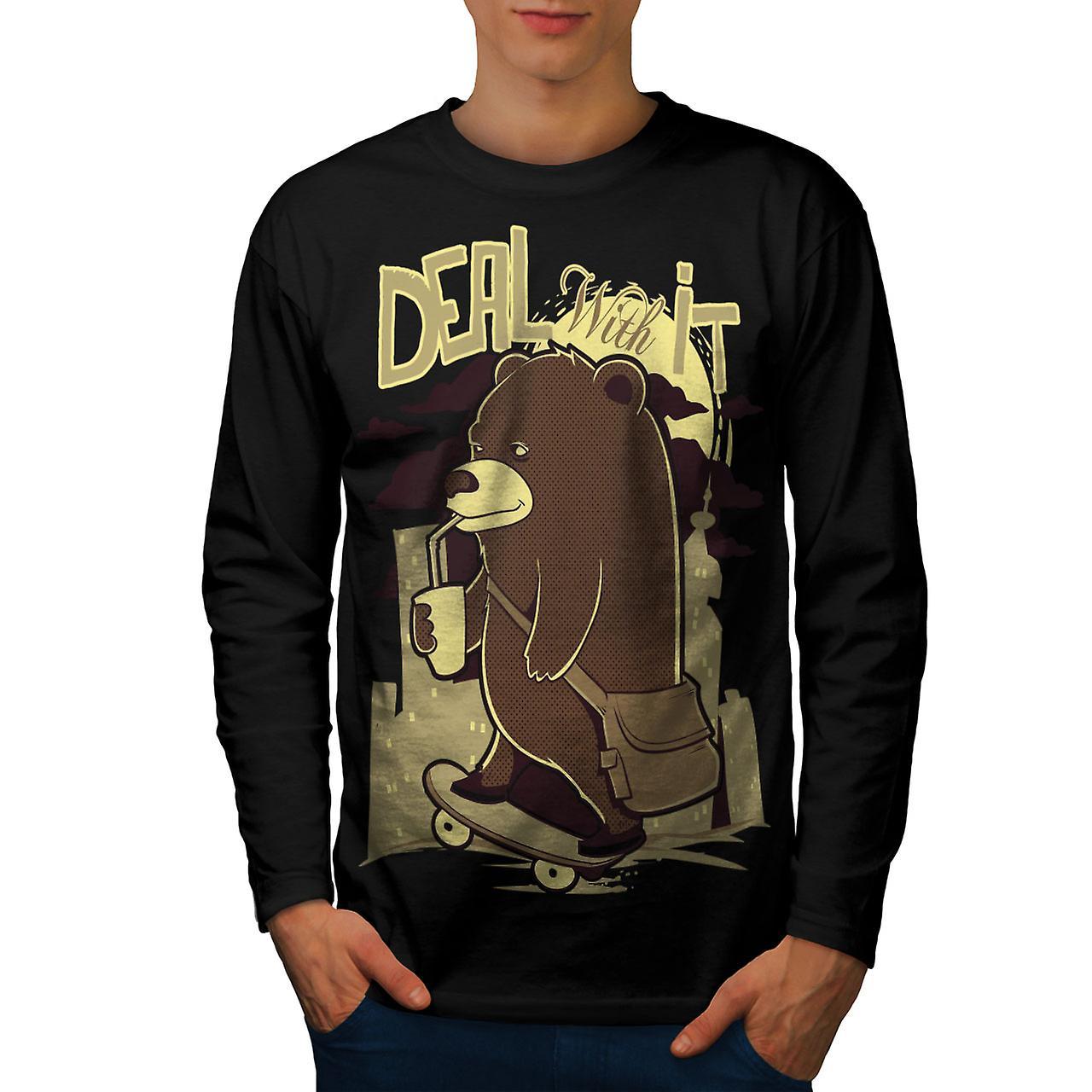 Gaan het Bear grappige mannen zwart lange mouw T-shirt | Wellcoda