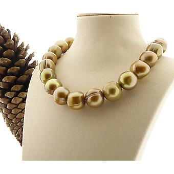 Guldfärgade sötvatten pärla halsband
