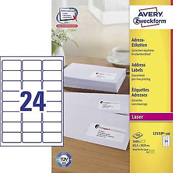 Avery-Zweckform L7159-100 Labels (A4) 63.5 x 33.9 mm Paper White 2400 pc(s) Permanent Address labels, All-purpose labels