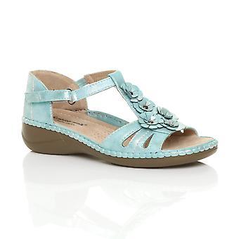 Ajvani womens low mid wedge heel flower strappy comfort sandals