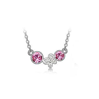 Womens Necklace Pink Drop Chain Flower Butterfly Charm