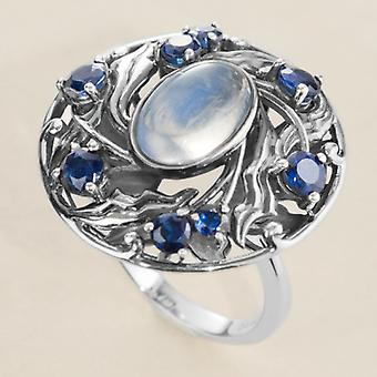 Dames Shipton en Co zilveren 12x8mm ovaal Moonstone en kyaniet Arts And Crafts Ring RQA364MSKY